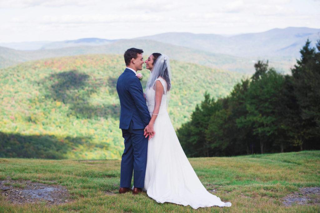 bride and groom Catskills mountaintop wedding