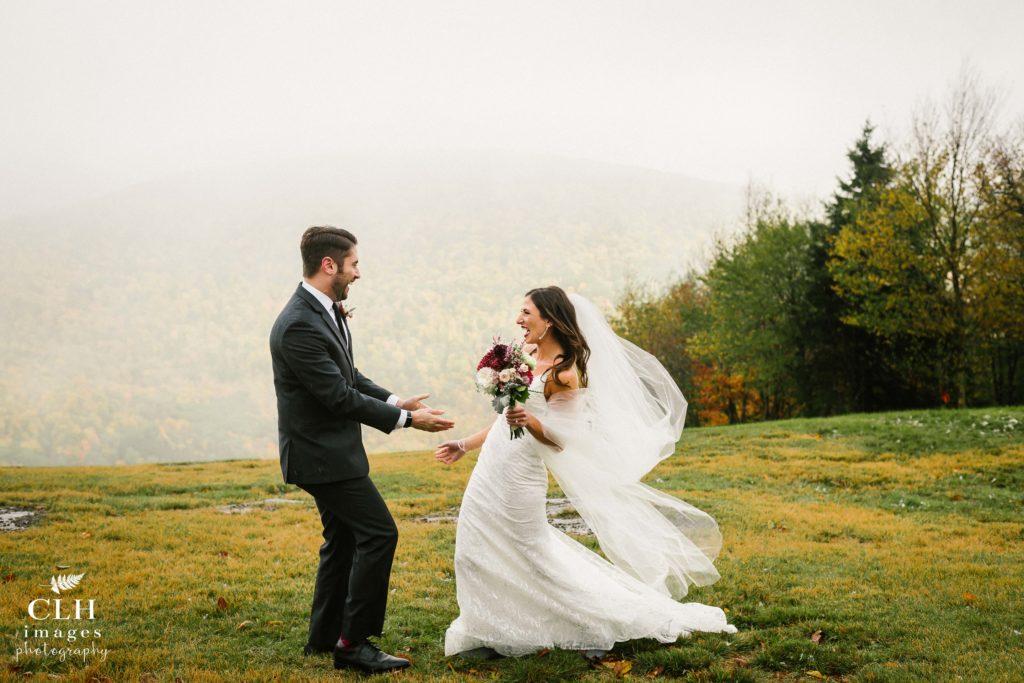 Catskills mountaintop wedding first look